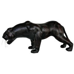 Large Leather-Clad Sculpture of a Black Panther with Glass Eyes