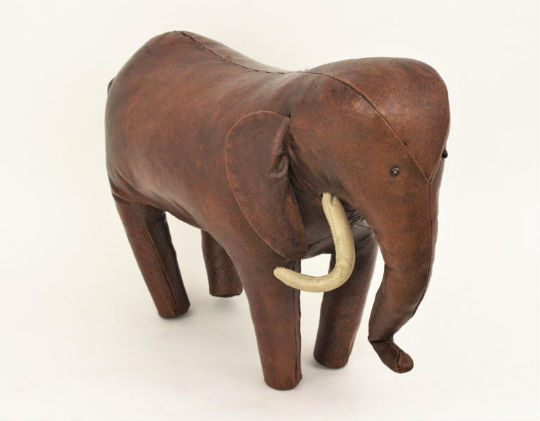 Large Leather Elephant Stool by Dimitri Omersa for Abercrombie, 1960s For Sale 4