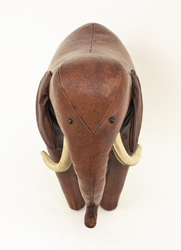 Large Leather Elephant Stool by Dimitri Omersa for Abercrombie, 1960s For Sale 5
