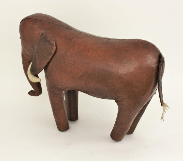 Large Leather Elephant Stool by Dimitri Omersa for Abercrombie, 1960s For Sale 7
