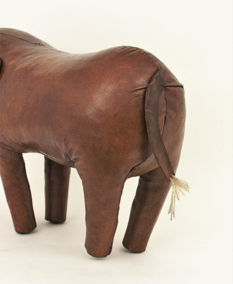Large Leather Elephant Stool by Dimitri Omersa for Abercrombie, 1960s For Sale 8