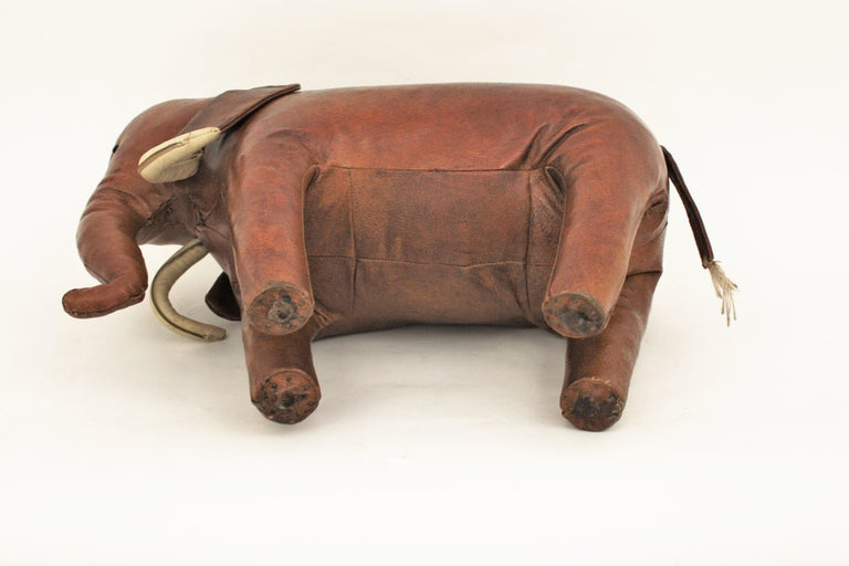 Large Leather Elephant Stool by Dimitri Omersa for Abercrombie, 1960s For Sale 10