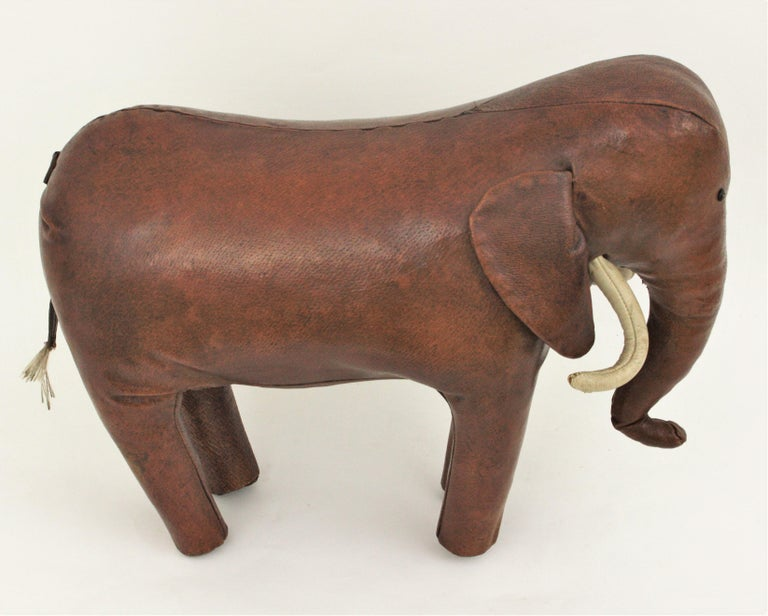 Large Leather Elephant Stool by Dimitri Omersa for Abercrombie, 1960s For Sale 11
