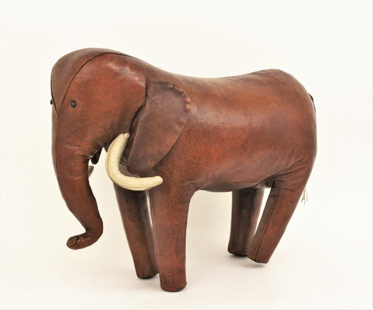 Mid-Century Modern Large Leather Elephant Stool by Dimitri Omersa for Abercrombie, 1960s For Sale