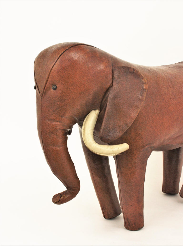 British Large Leather Elephant Stool by Dimitri Omersa for Abercrombie, 1960s For Sale