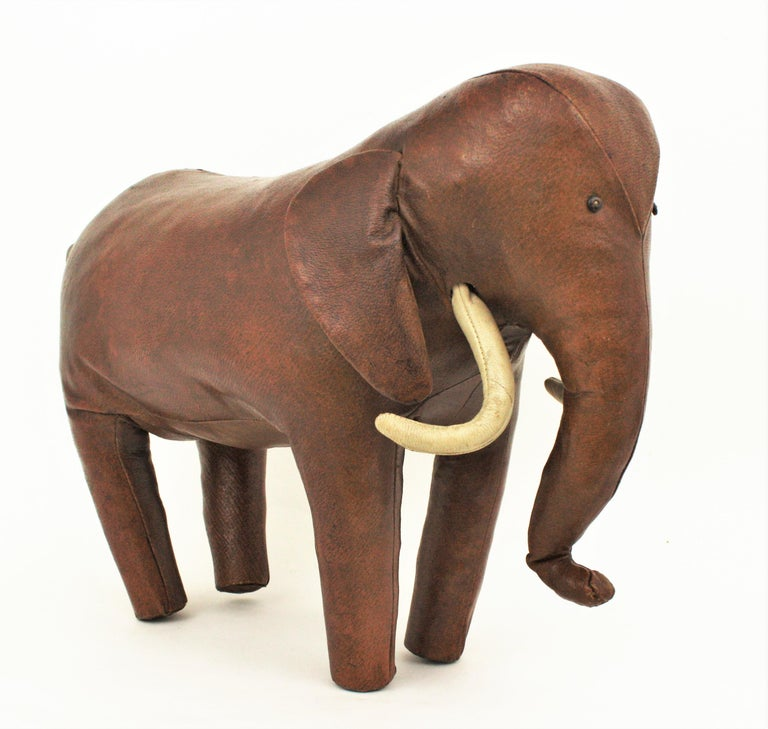 Large Leather Elephant Stool by Dimitri Omersa for Abercrombie, 1960s For Sale 1