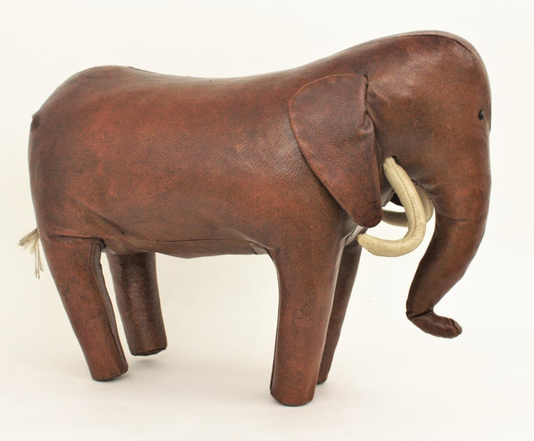 Large Leather Elephant Stool by Dimitri Omersa for Abercrombie, 1960s For Sale 2