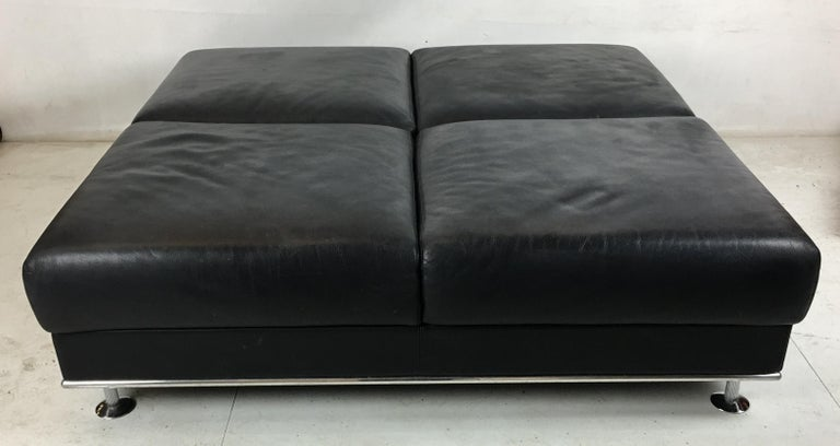 Italian Huge Leather Ottoman by Matteograssi, Italy For Sale