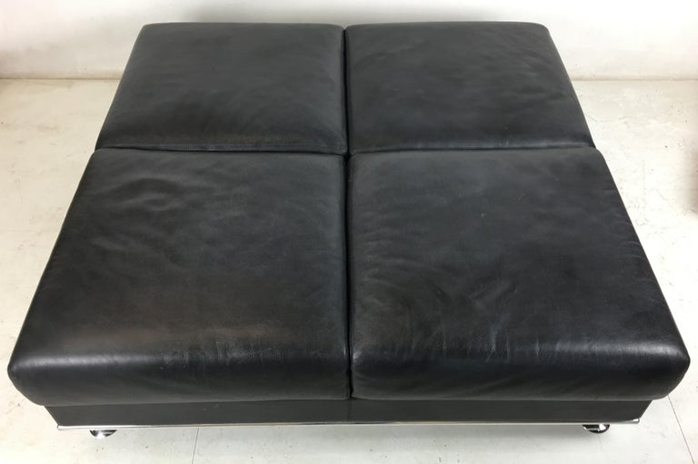 Huge Leather Ottoman by Matteograssi, Italy In Good Condition For Sale In San Leandro, CA