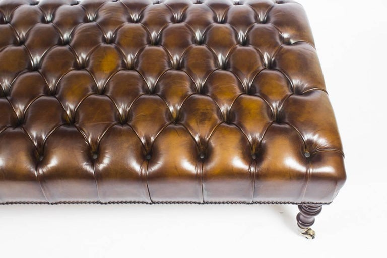 Bespoke Large Leather Stool Ottoman Coffee Table For Sale