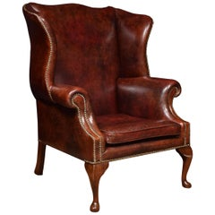 Large Leather Upholstered Wingback Armchair