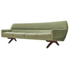 Large Leif Hansen Curved Sofa for Kronen Mobelfabrik