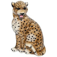 Large Leopard Italian Ceramic Sculpture from the 1950s with Hand-Painted Details