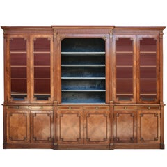 Large Library Bookcase of Louis XVI Style Mahogany and Bronze, circa 1900