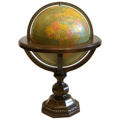 Large Library Globe on Wooden Stand, circa 1950s