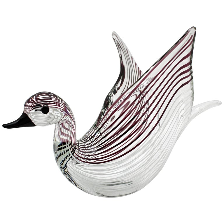 Mid-Century Modern Large Licio Zanetti Striped Murano Glass Open Wings Duck Sculpture or Vase For Sale