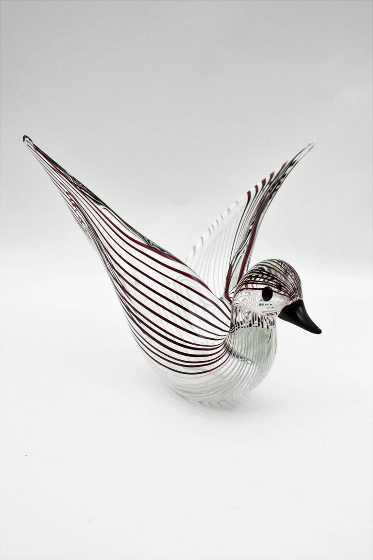 Large Licio Zanetti Striped Murano Glass Open Wings Duck Sculpture or Vase In Excellent Condition For Sale In Barcelona, ES