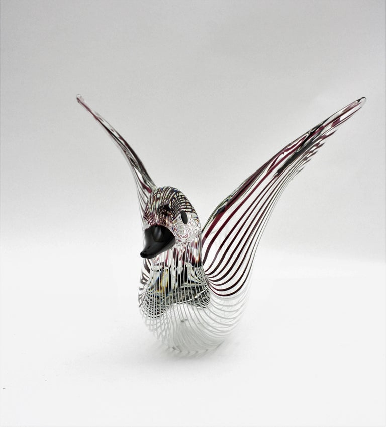 Large Licio Zanetti Striped Murano Glass Open Wings Duck Sculpture or Vase For Sale 1