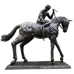 Large Life-Size Bronze Horse and Jockey Statue, 20th Century
