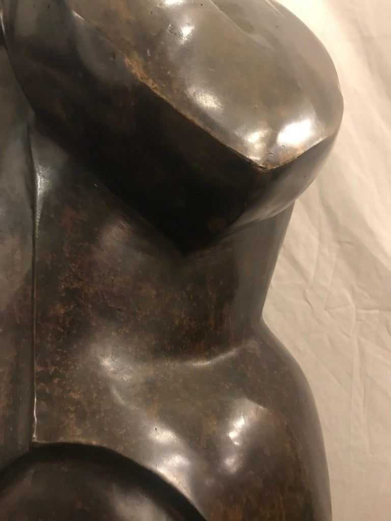 Large Life-Sized Bronze Modern Sculpture of a Trumpet Player For Sale 7