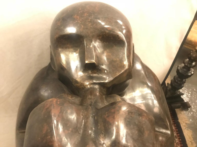 Large Life-Sized Bronze Modern Sculpture of a Trumpet Player For Sale 9