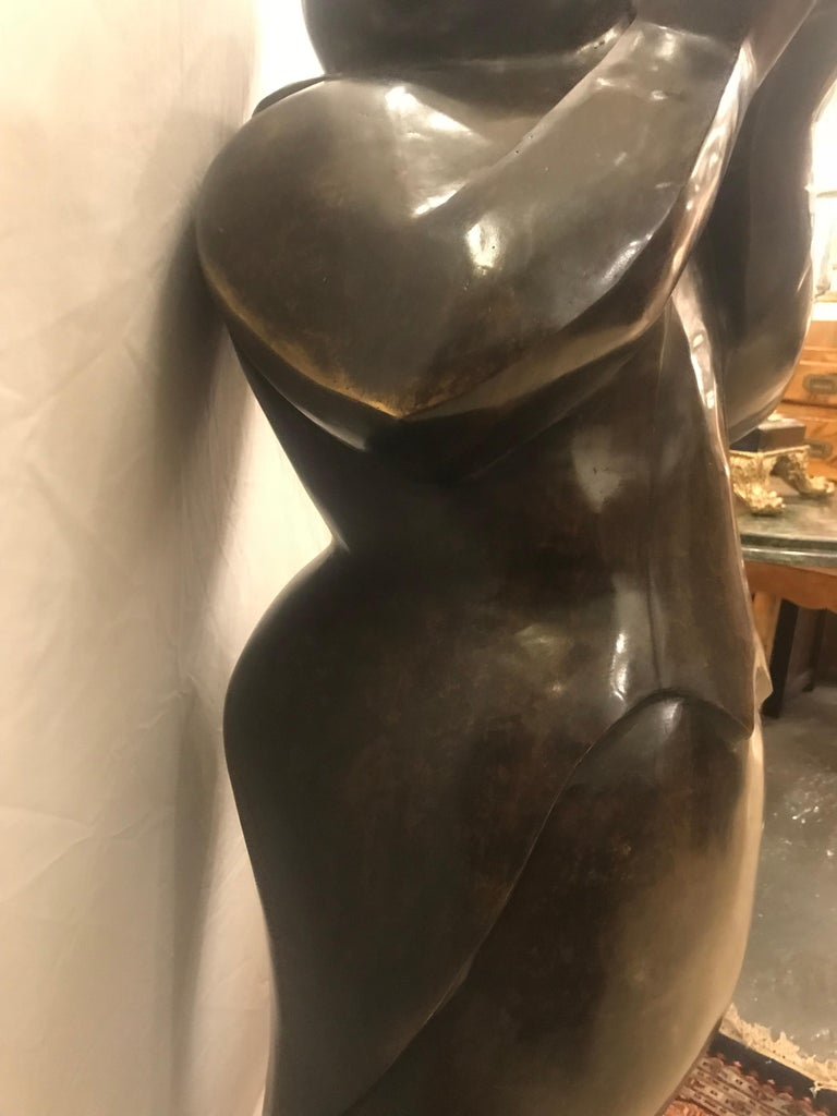 Large Life-Sized Bronze Modern Sculpture of a Trumpet Player For Sale 10