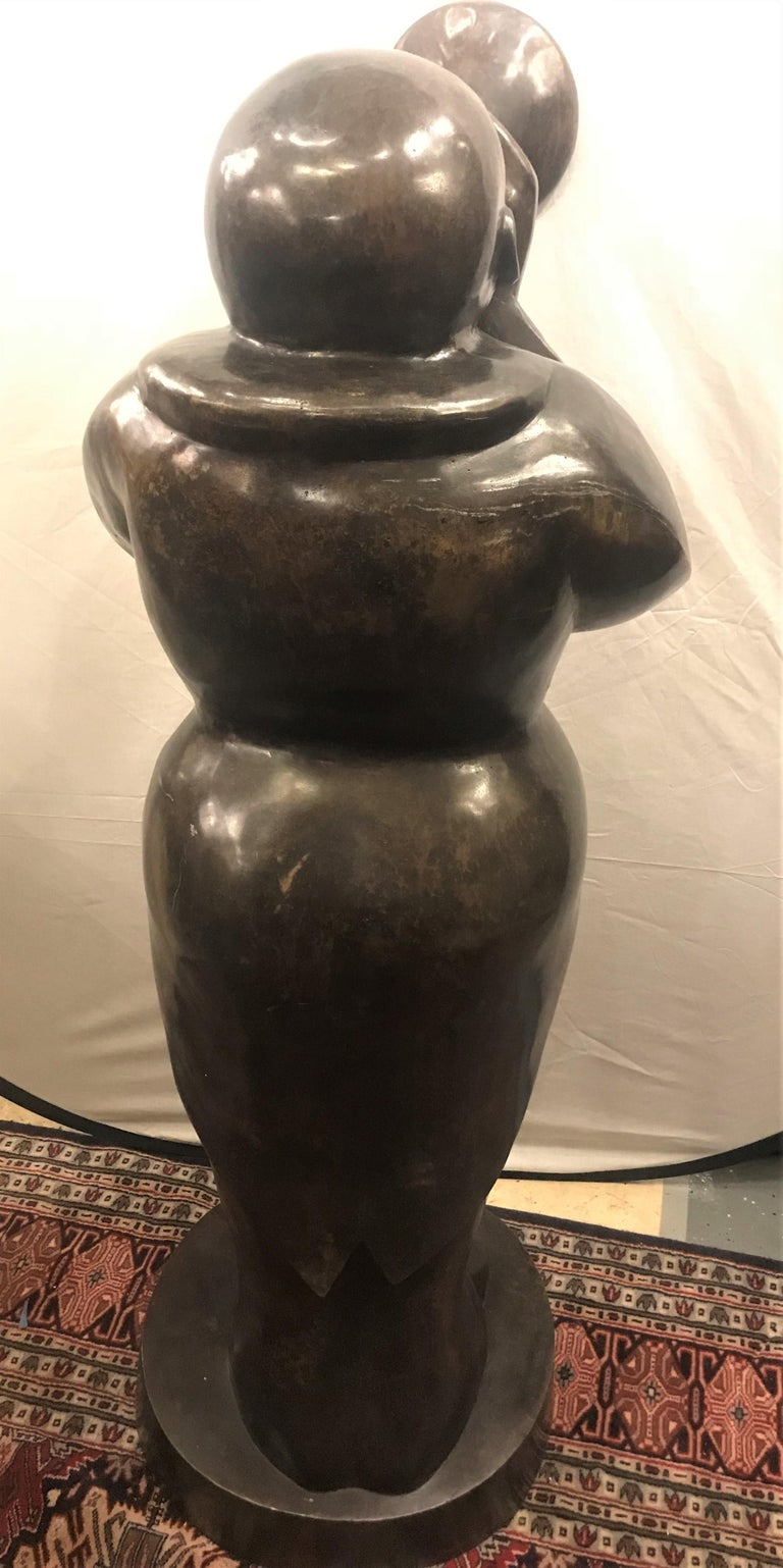 Large Life-Sized Bronze Modern Sculpture of a Trumpet Player For Sale 11