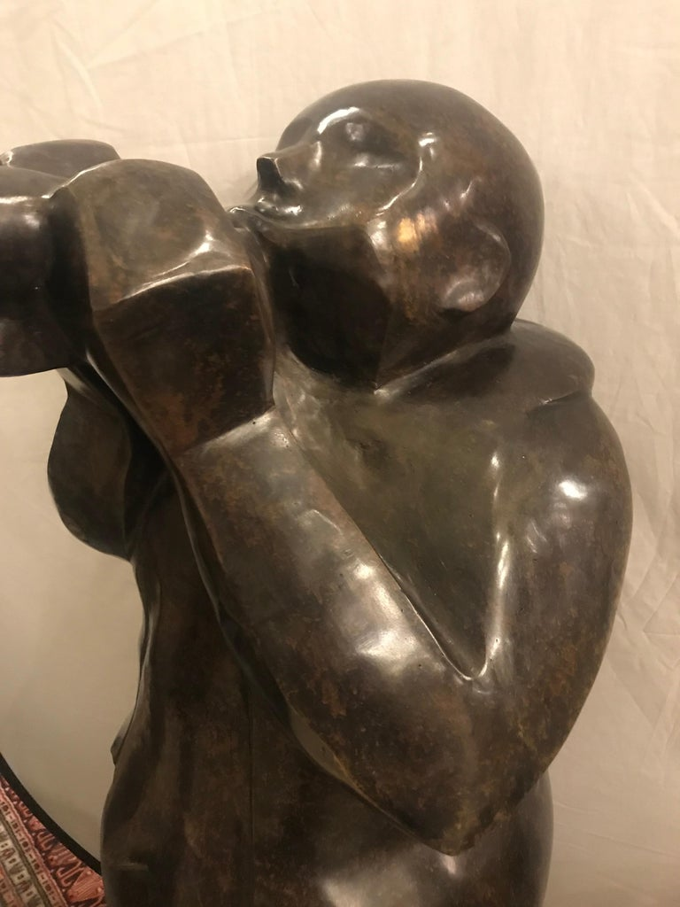 Large Life-Sized Bronze Modern Sculpture of a Trumpet Player For Sale 3