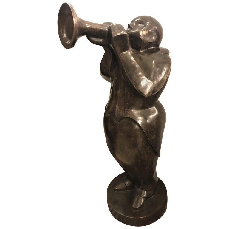 Large Life-Sized Bronze Modern Sculpture of a Trumpet Player For Sale