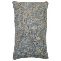 Large Light Blue Brown Accent Persian Oriental Antique Tabriz Rug Pillow