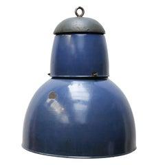 One Large Light Blue Enamel Industrial Pendant Cast Iron Top