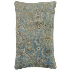 Large Light Blue Persian Oriental Antique Tabriz Rug Pillow