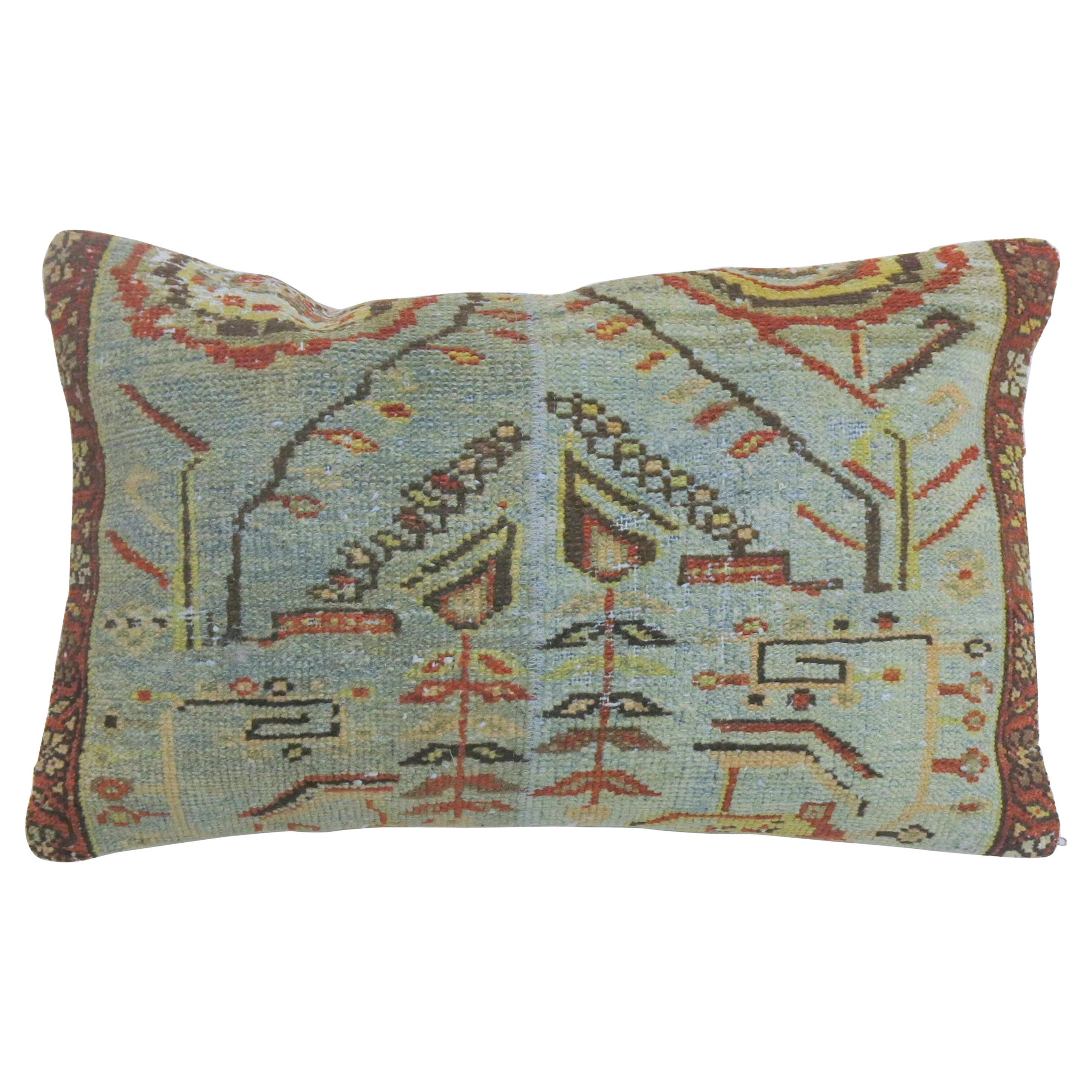 Large Light Blue Persian Rug Pillow