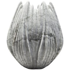 Marble Vase by Zaha Hadid in Honed Bianco Carrara Marble