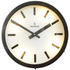 Large Light Up Factory Clock by Siemens, Circa 1960s