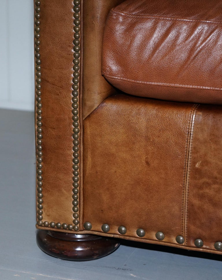 Large Lillian August Brown Leather Three To Four Seat