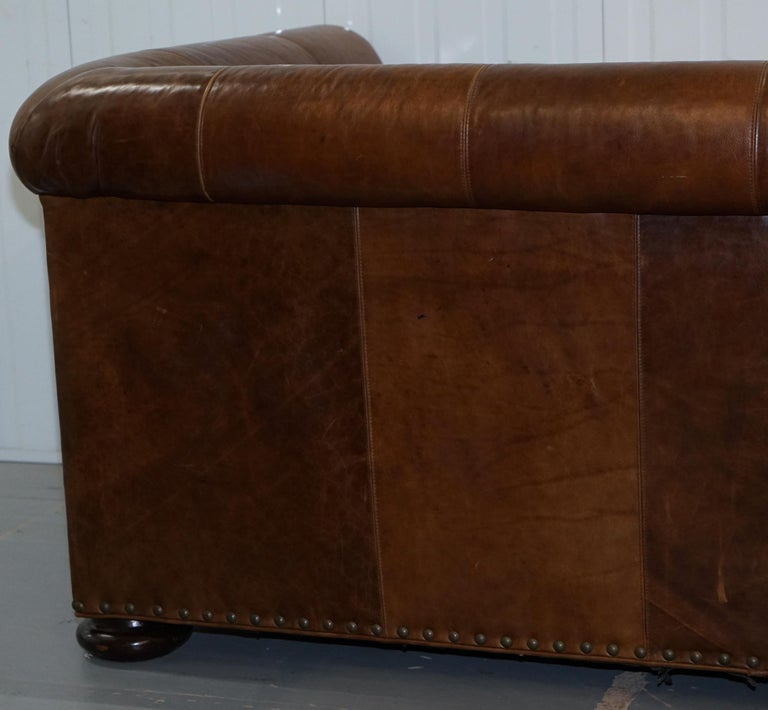 Contemporary Sofa Sale: Large Lillian August Brown Leather Three To Four Seat