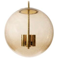 Large Limburg Globe Pendant Light, Brass Amber Smoked Glass, 1970s, One of Six