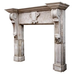 Large Limestone Fireplace with Shaped Brackets 'pair available'