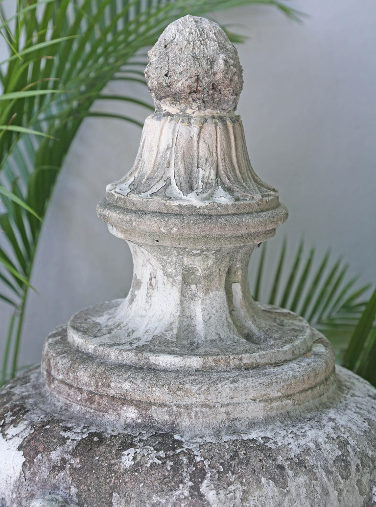 Wonderful patina on this large 1920s era ornamental limestone urn. Thought to be from the famous Vizcaya Gardens in Miami.