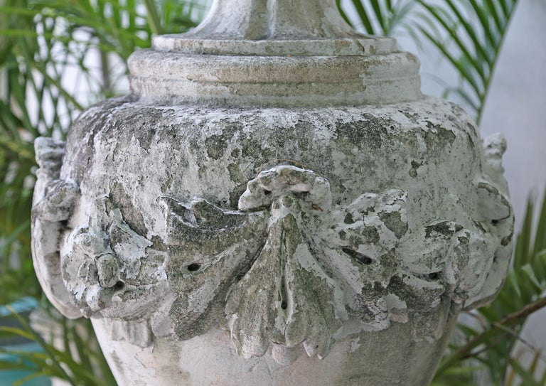 Large Limestone Ornamental Urn In Good Condition For Sale In West Palm Beach, FL