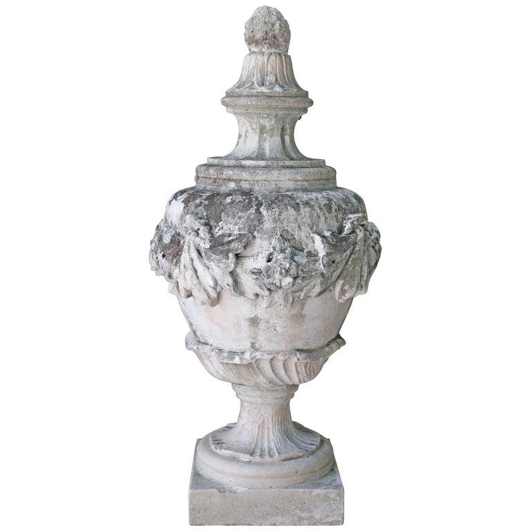 Large Limestone Ornamental Urn For Sale