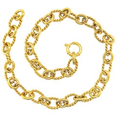 Large Link Chain Necklace 14 Karat Gold and Polished Oval Links-Chain