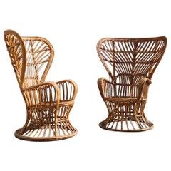 Large Lio Carminati Midcentury Bamboo Armchairs High Back Gio Ponti Style, Pair