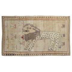 Large Lion Figural Persian Gabbeh Rug