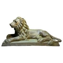 Large Lion Figure Bronze Sculpture