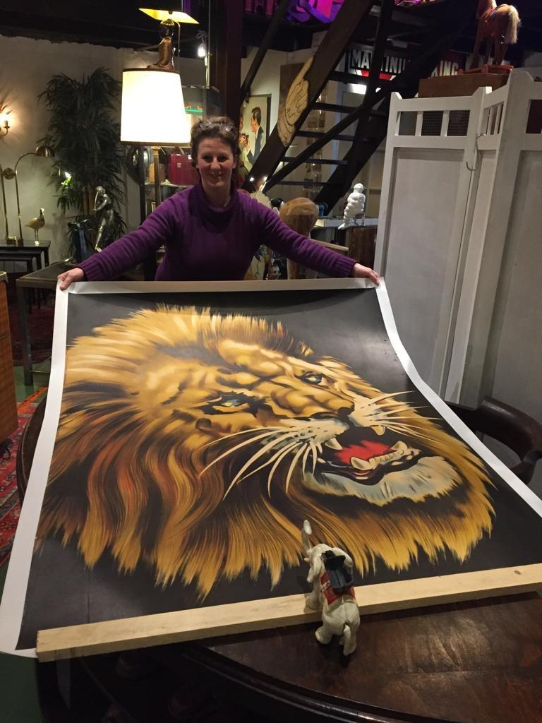 Impressive Large Poster with a Lion.  This linen backed Lithographic Circus Poster with a Lion Head was made for Circus Triumph - Cirque Triumph, who was known before as Circus Triomph. This poster was designed to present their new Spectacular Show
