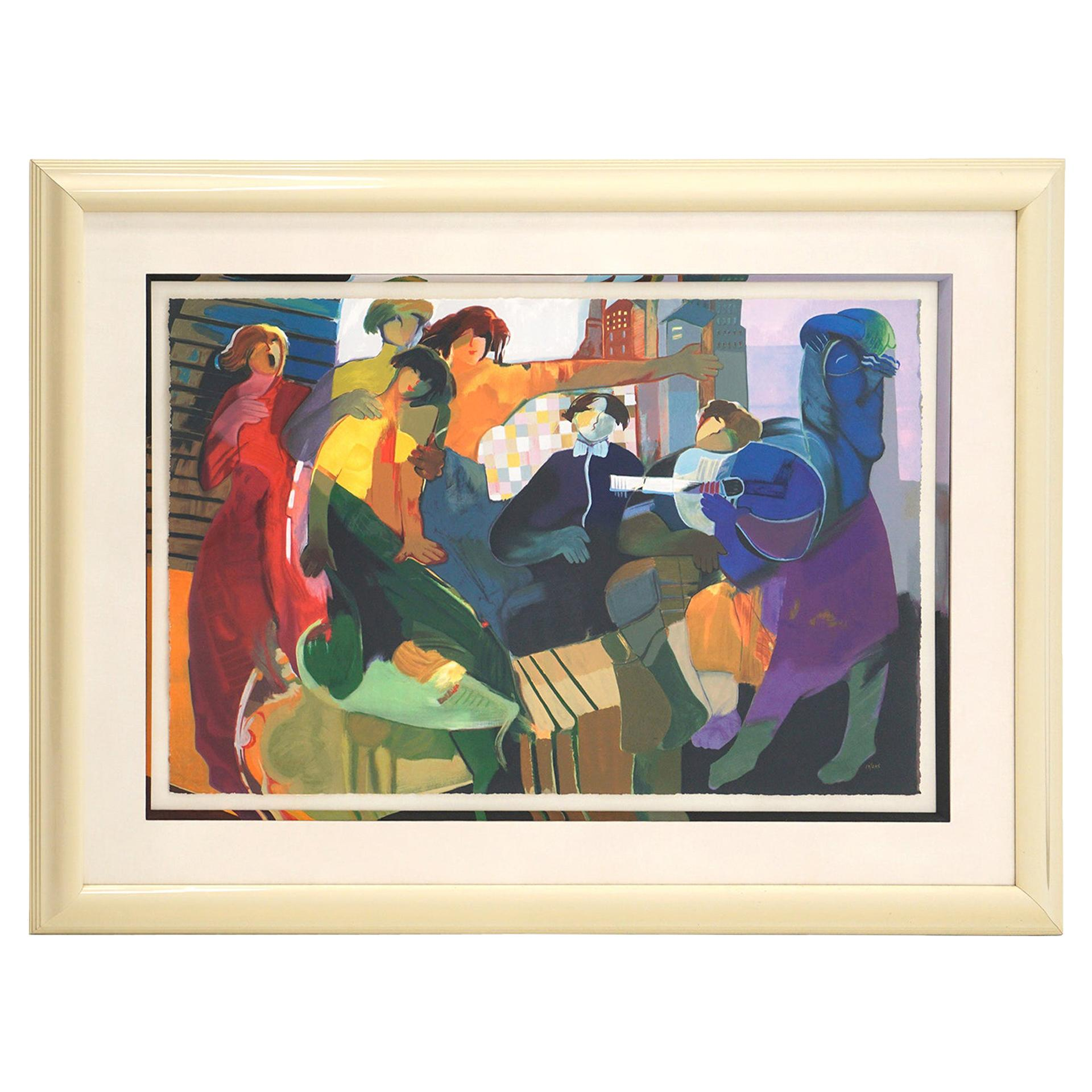 Large Lithograph by Hessam Abrishami, Framed, Numbered, and Signed