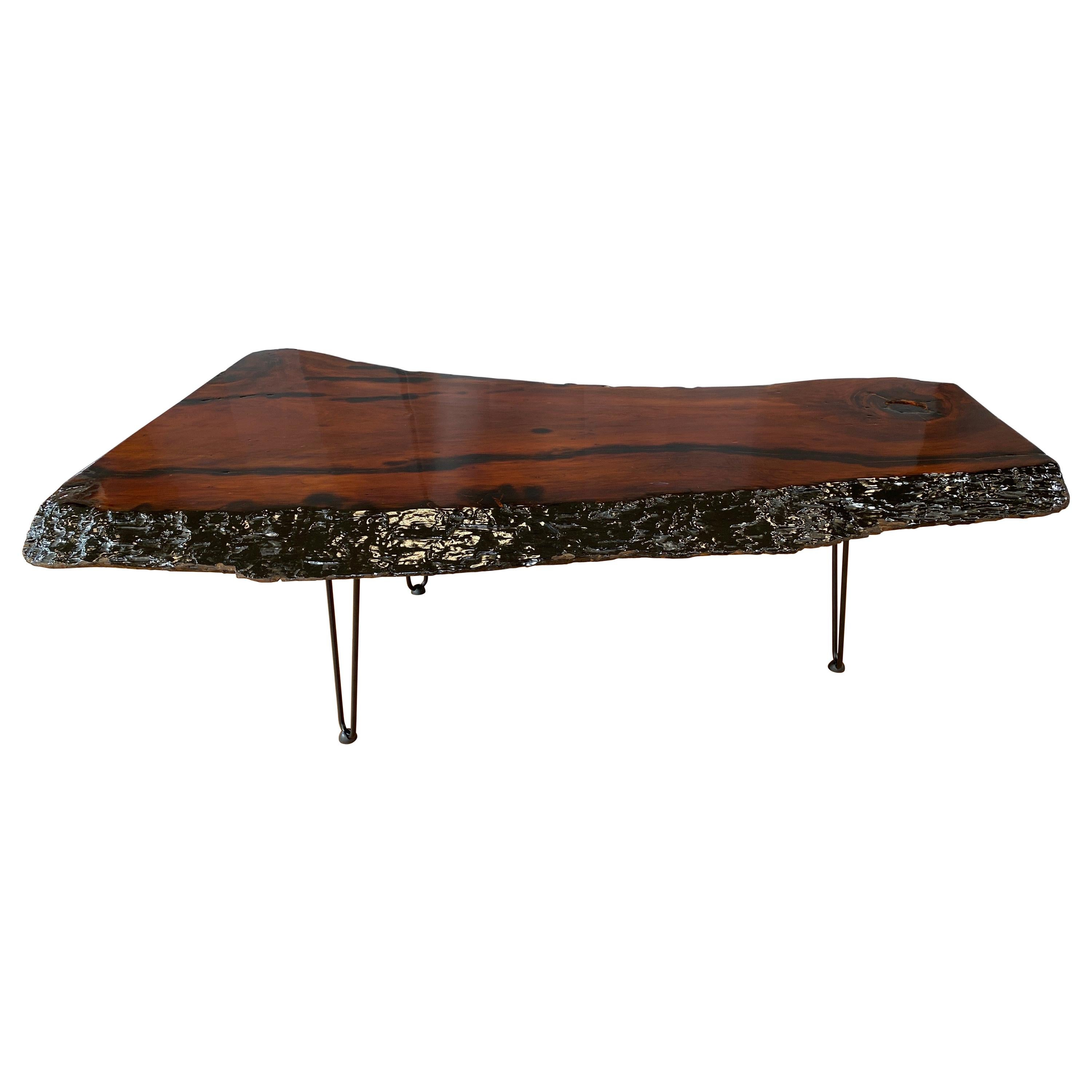 Large Live Edge Redwood Slab Coffee Table on Hairpin Legs, 1970s