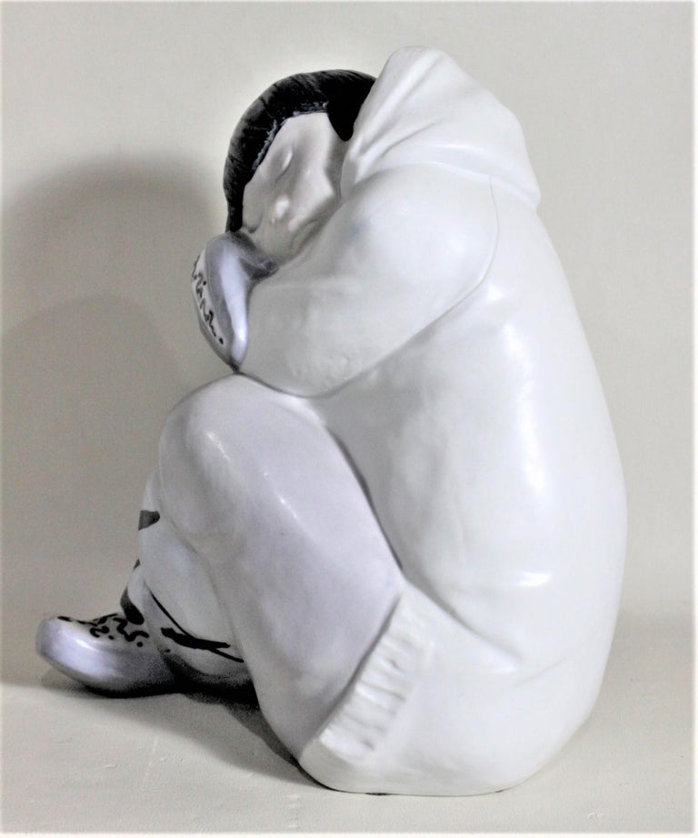 Spanish Large Lladro Yupik or Inuit Boy Crouched and Resting Figurine or Sculpture For Sale